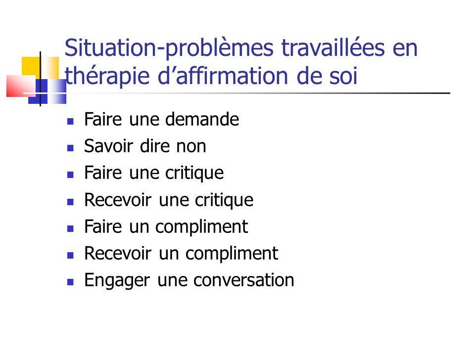 Situation-problèmes travaillées en thérapie d'affirmation de soi