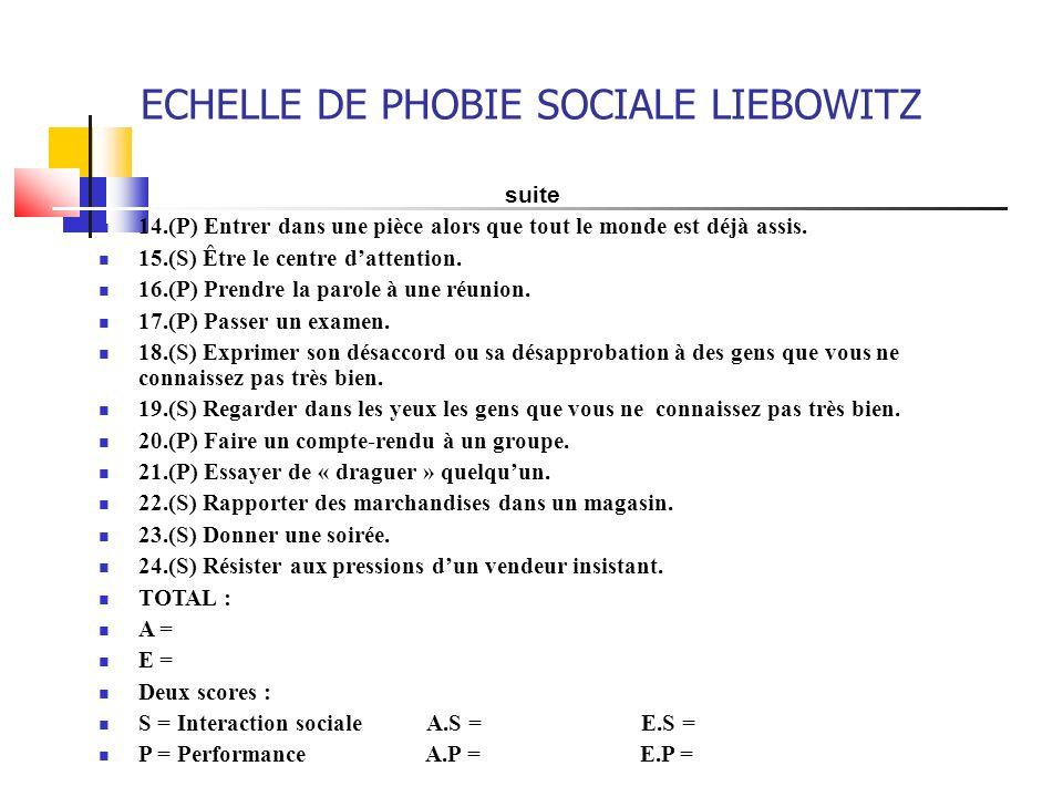 ECHELLE DE PHOBIE SOCIALE LIEBOWITZ