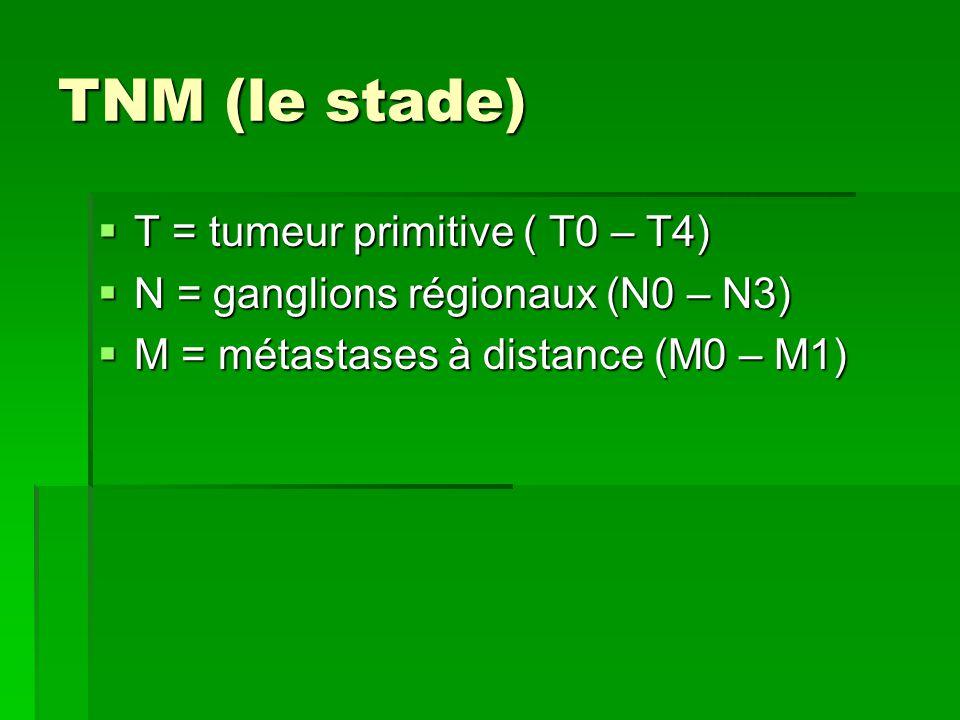 TNM (le stade) T = tumeur primitive ( T0 – T4)