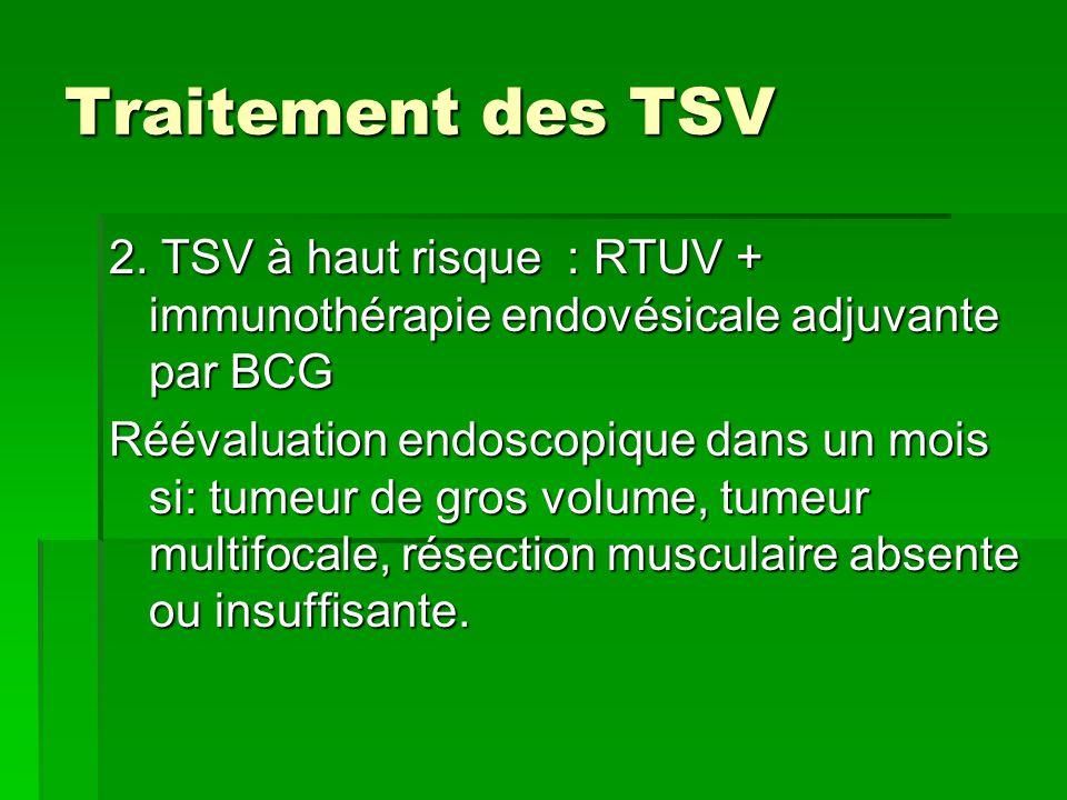 Traitement des TSV 2. TSV à haut risque : RTUV + immunothérapie endovésicale adjuvante par BCG.