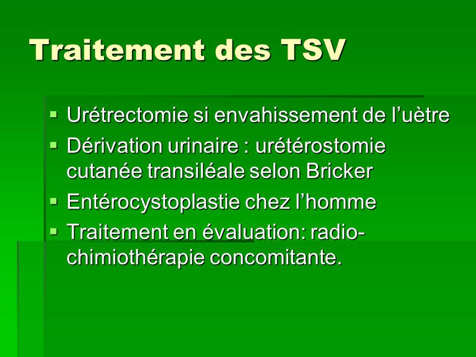 Traitement des TSV Urétrectomie si envahissement de l'uètre