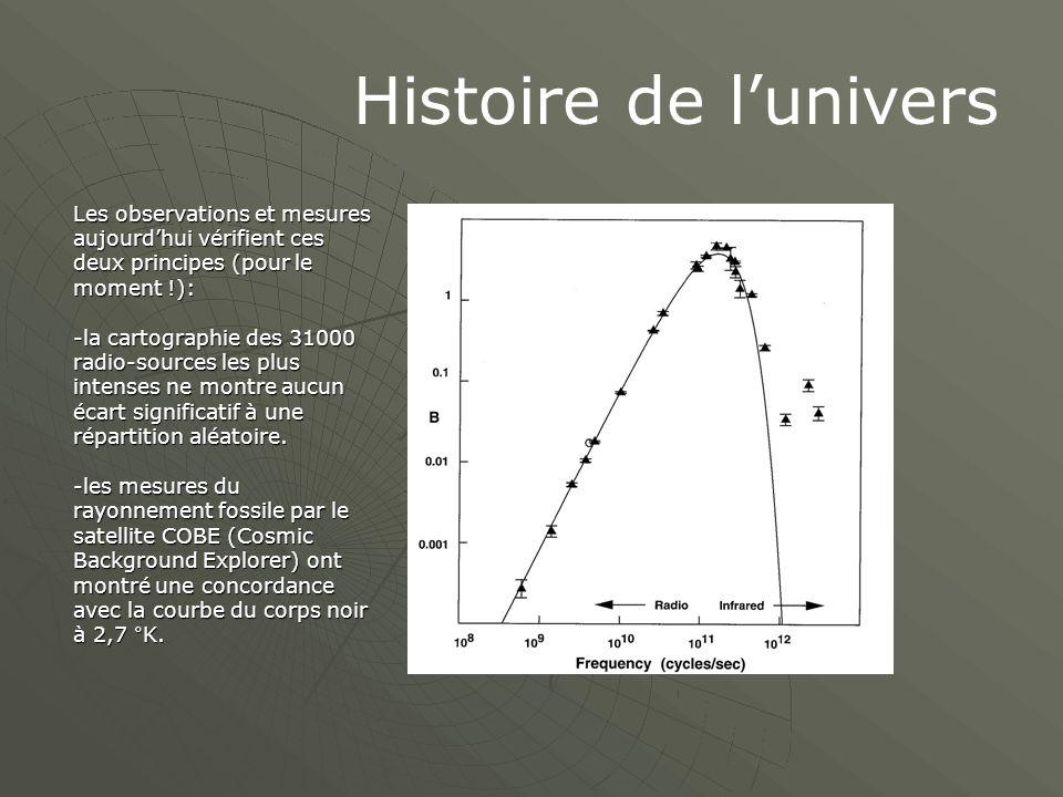 Histoire de l'univers Les observations et mesures aujourd'hui vérifient ces deux principes (pour le moment !):