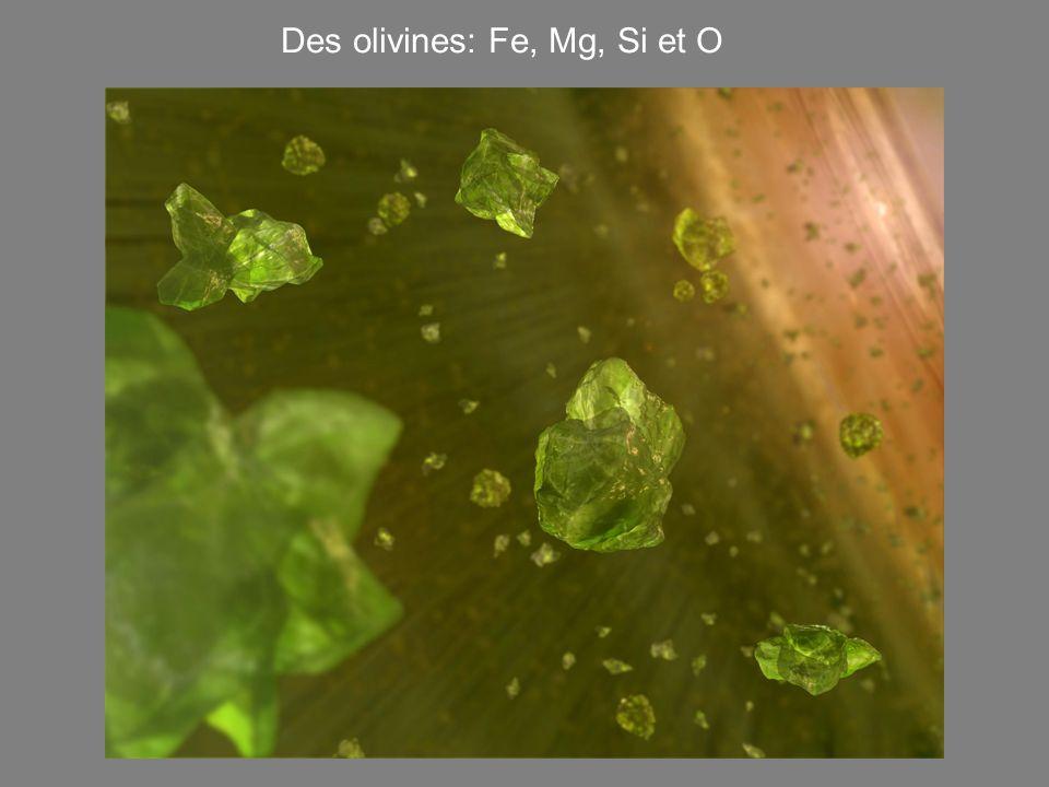Des olivines: Fe, Mg, Si et O