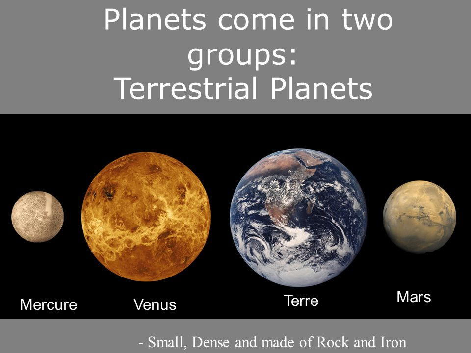 Planets come in two groups: Terrestrial Planets