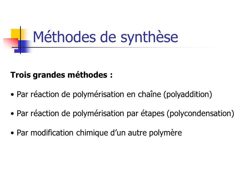 Méthodes de synthèse Trois grandes méthodes :
