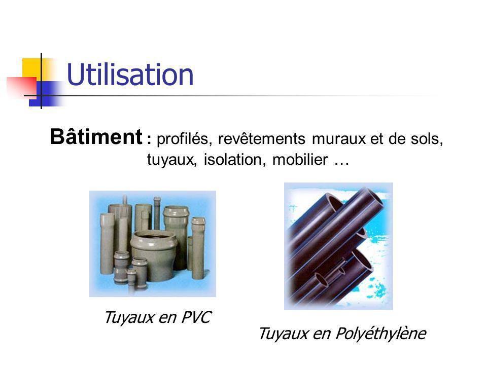 Utilisation Bâtiment : profilés, revêtements muraux et de sols,
