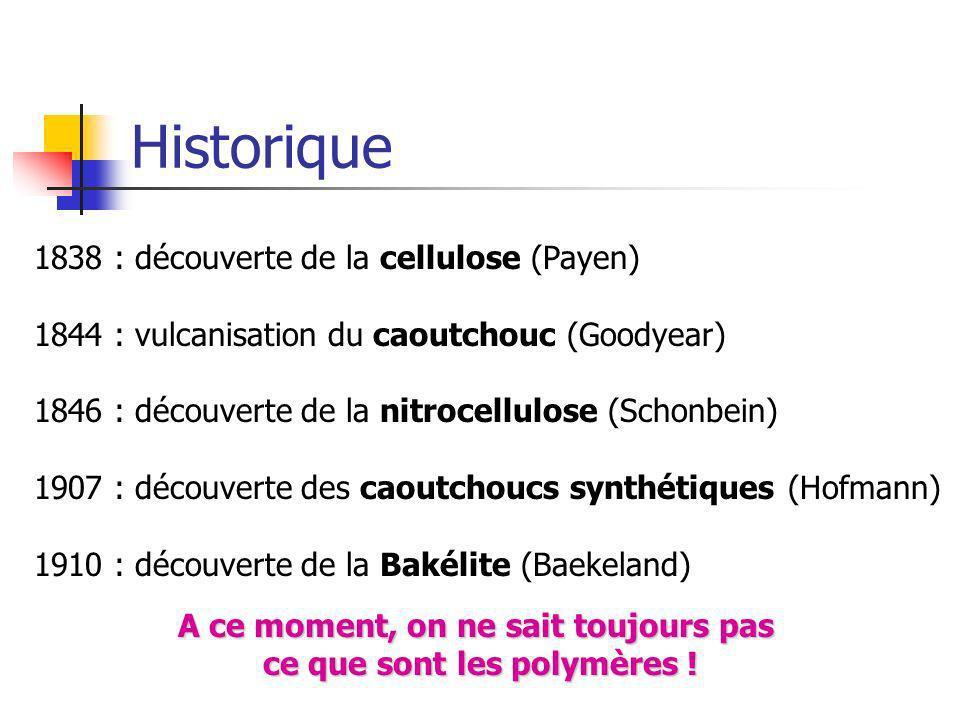 A ce moment, on ne sait toujours pas ce que sont les polymères !