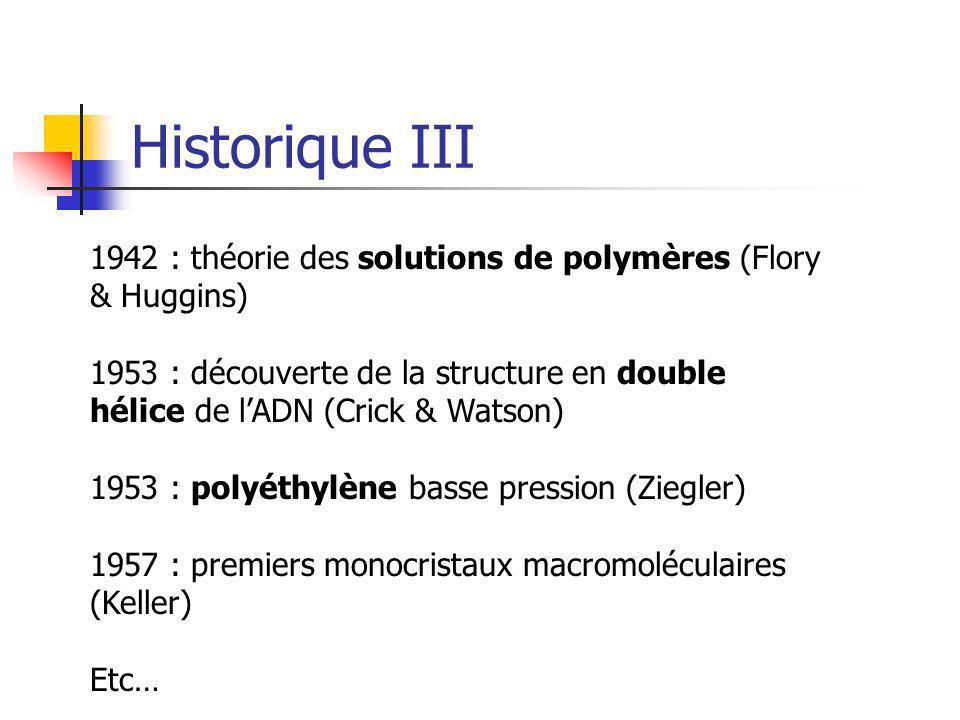 Historique III1942 : théorie des solutions de polymères (Flory & Huggins)