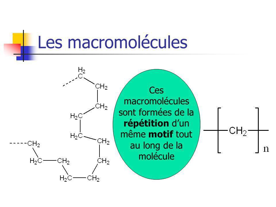 Les macromolécules Ces macromolécules sont formées de la répétition d'un même motif tout au long de la molécule.