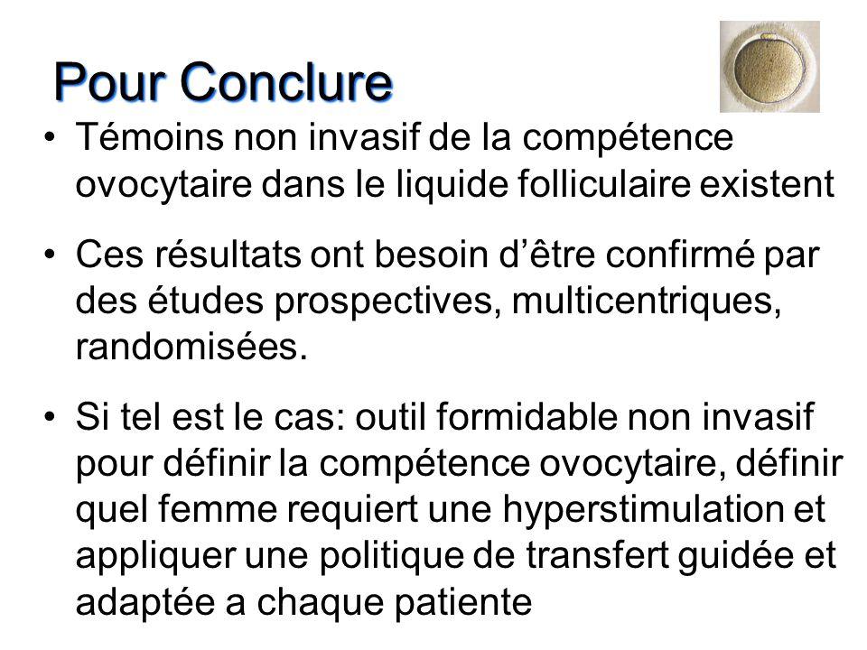 Pour Conclure Témoins non invasif de la compétence ovocytaire dans le liquide folliculaire existent.