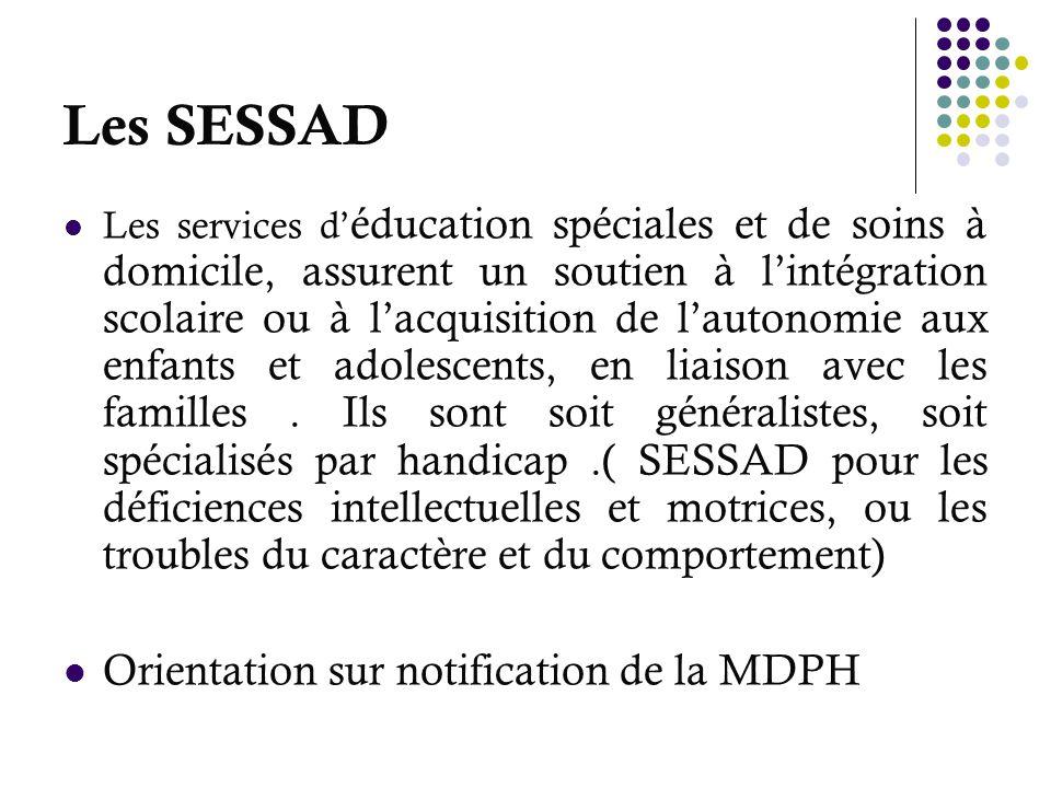Les SESSAD Orientation sur notification de la MDPH