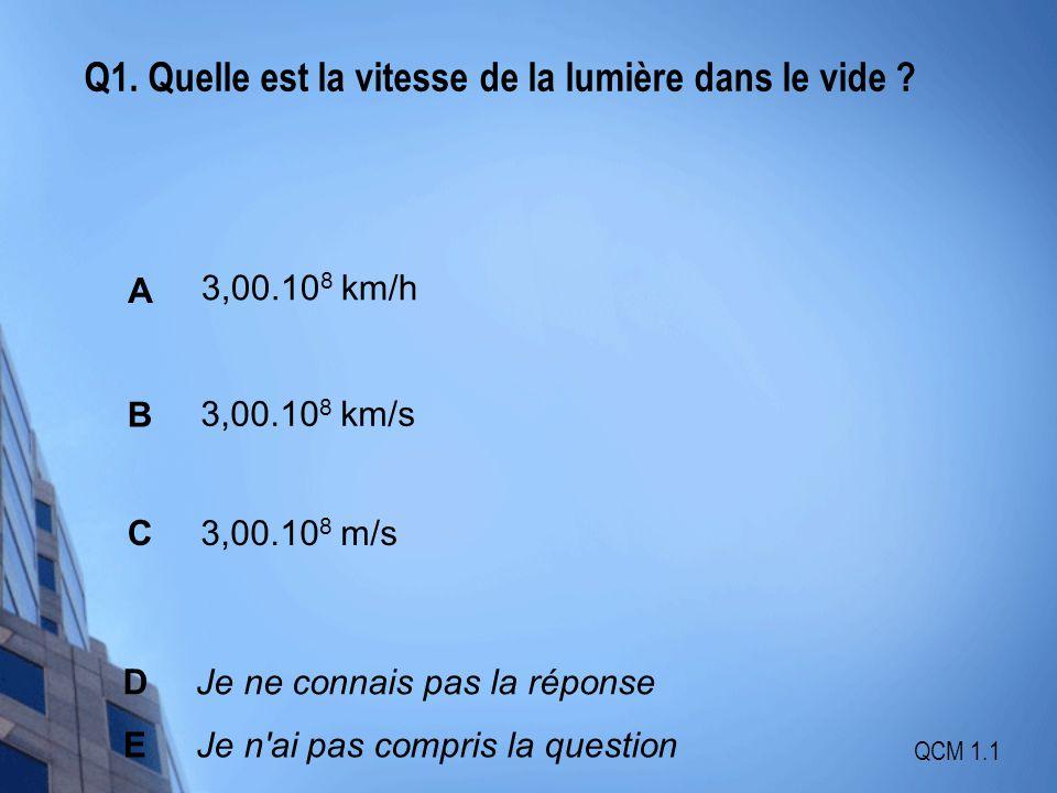 Q1. Quelle est la vitesse de la lumière dans le vide