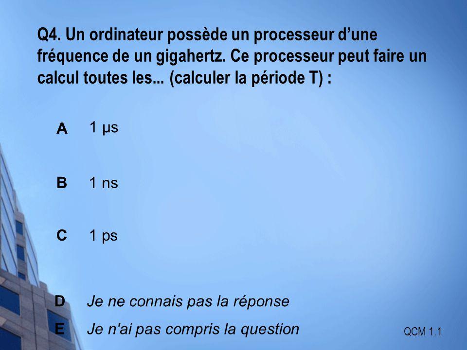 Q4. Un ordinateur possède un processeur d'une fréquence de un gigahertz. Ce processeur peut faire un calcul toutes les... (calculer la période T) :