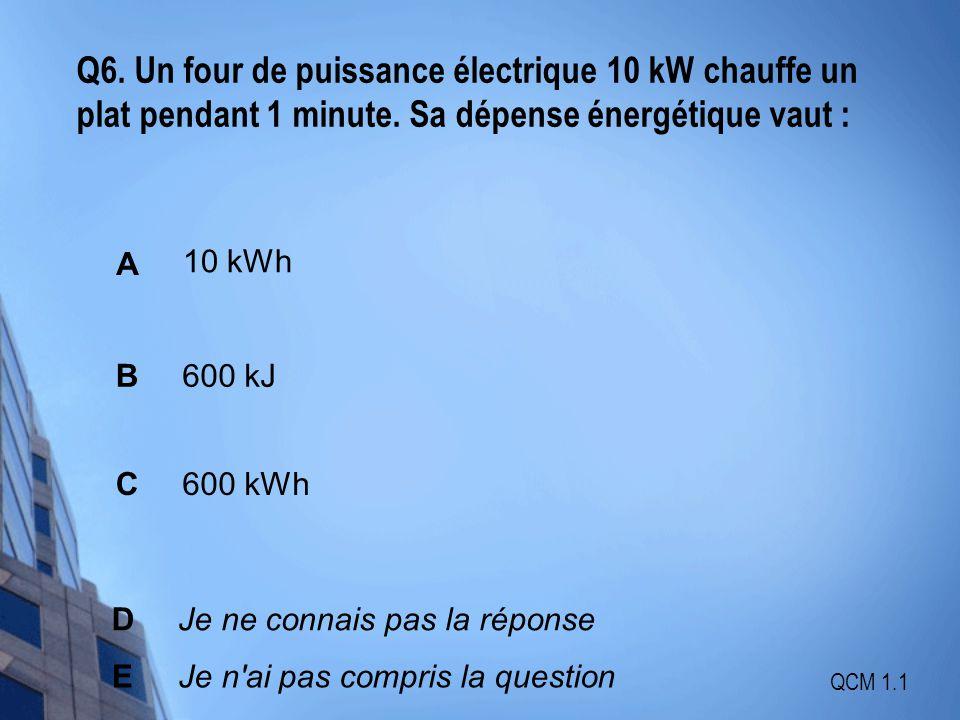 Q6. Un four de puissance électrique 10 kW chauffe un plat pendant 1 minute. Sa dépense énergétique vaut :