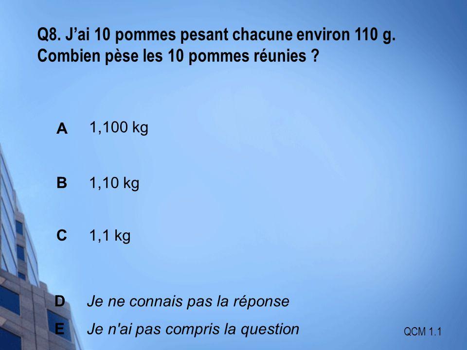 Q8. J'ai 10 pommes pesant chacune environ 110 g