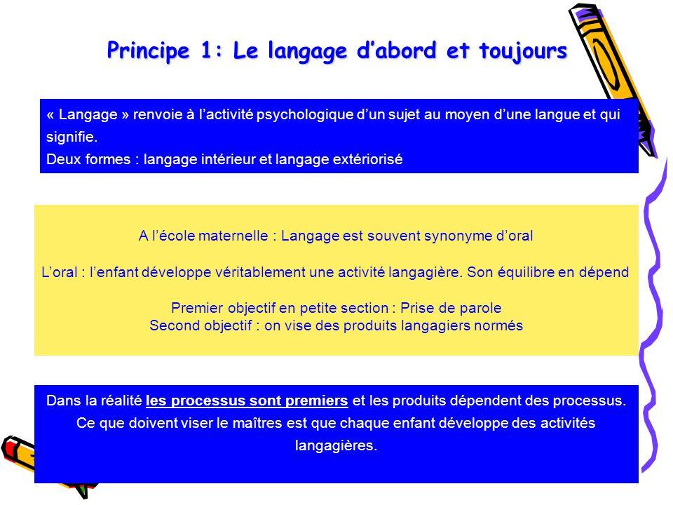 Principe 1: Le langage d'abord et toujours