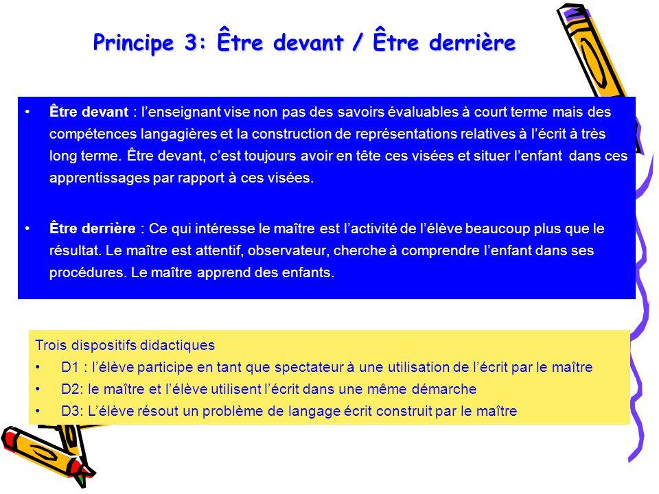 Principe 3: Être devant / Être derrière