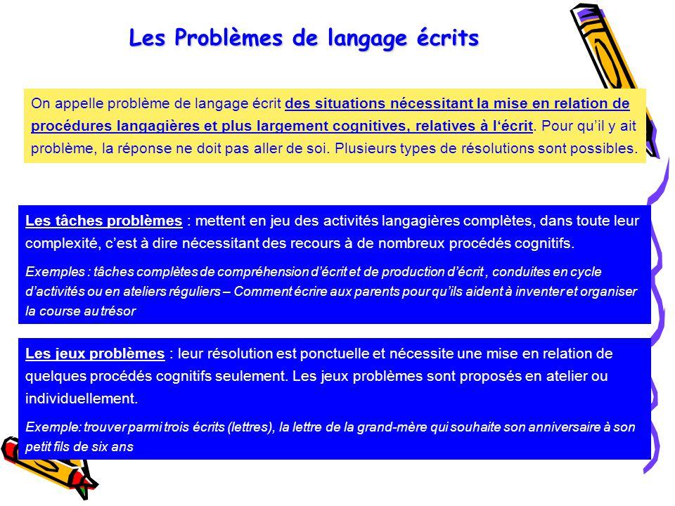 Les Problèmes de langage écrits