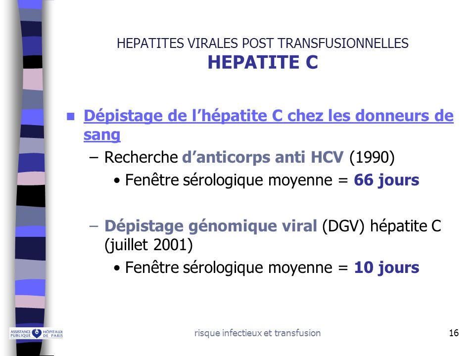 HEPATITES VIRALES POST TRANSFUSIONNELLES HEPATITE C