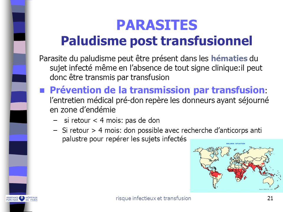 PARASITES Paludisme post transfusionnel