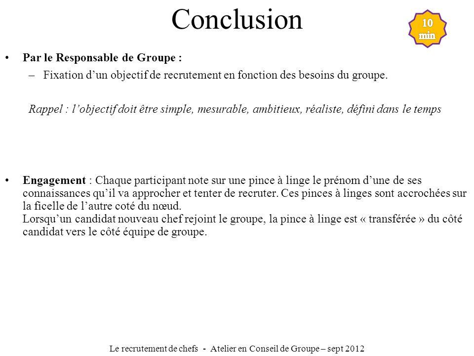 Le recrutement de chefs - Atelier en Conseil de Groupe – sept 2012