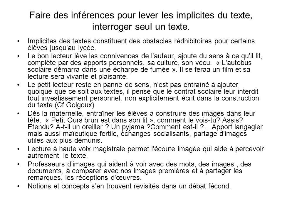 Faire des inférences pour lever les implicites du texte, interroger seul un texte.