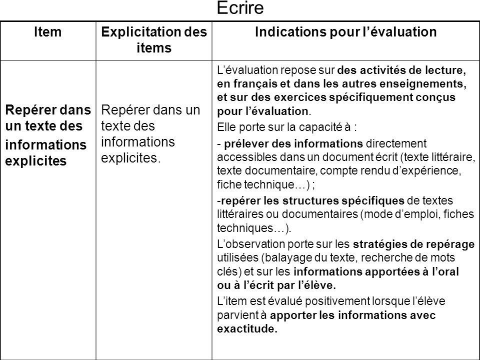 Explicitation des items Indications pour l'évaluation