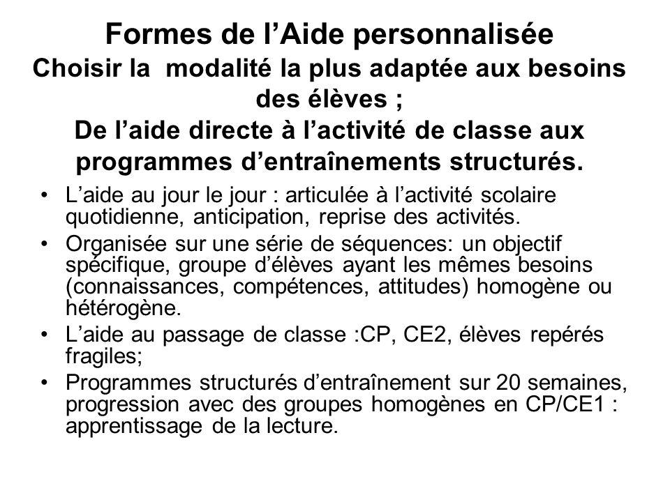 Formes de l'Aide personnalisée Choisir la modalité la plus adaptée aux besoins des élèves ; De l'aide directe à l'activité de classe aux programmes d'entraînements structurés.