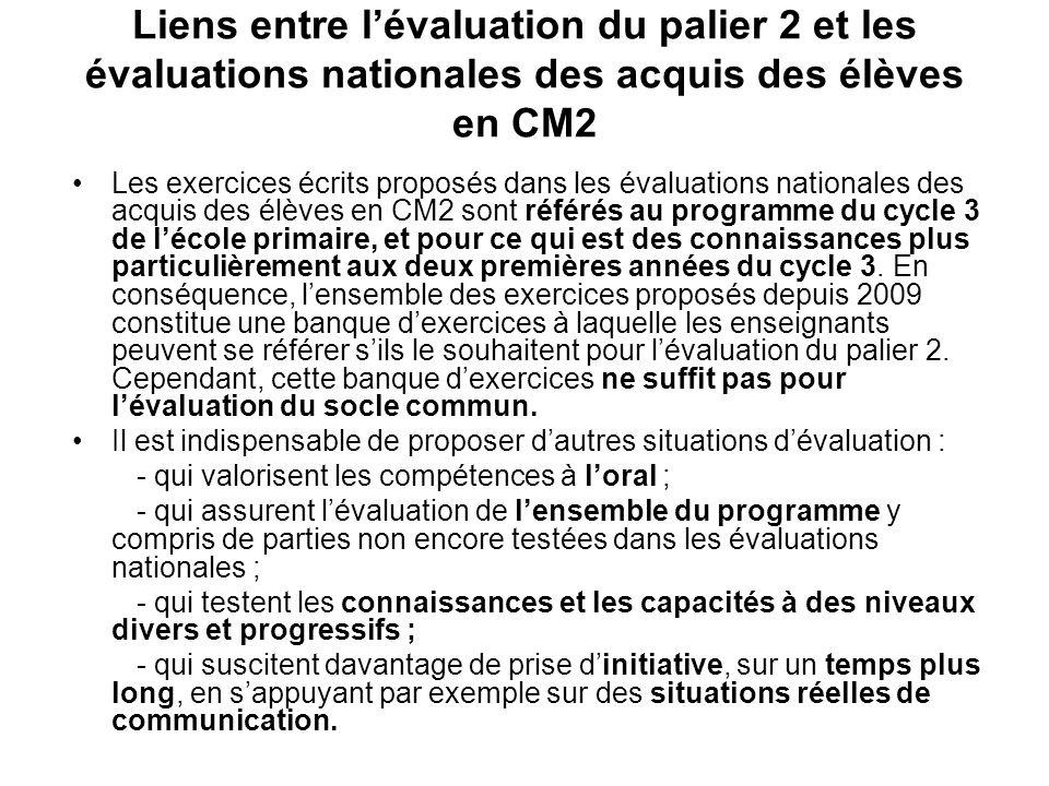 Liens entre l'évaluation du palier 2 et les évaluations nationales des acquis des élèves en CM2