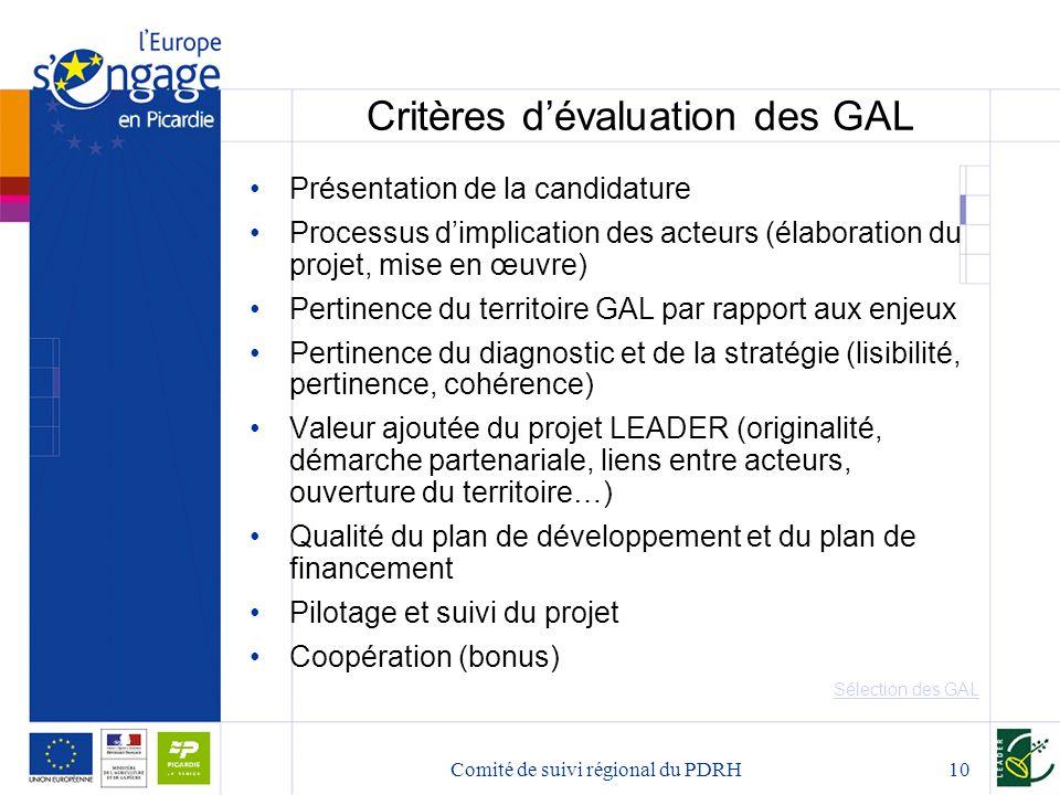 Critères d'évaluation des GAL