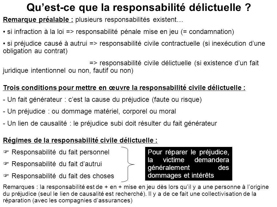 Qu'est-ce que la responsabilité délictuelle