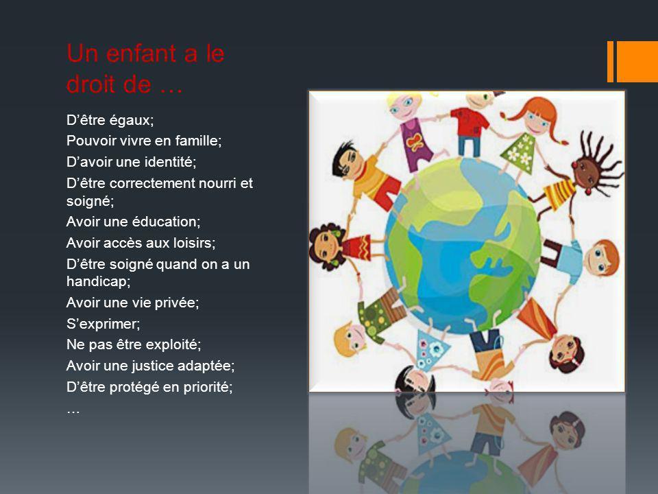 Un enfant a le droit de … D'être égaux; Pouvoir vivre en famille;