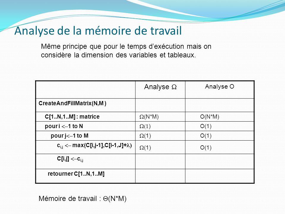 Analyse de la mémoire de travail