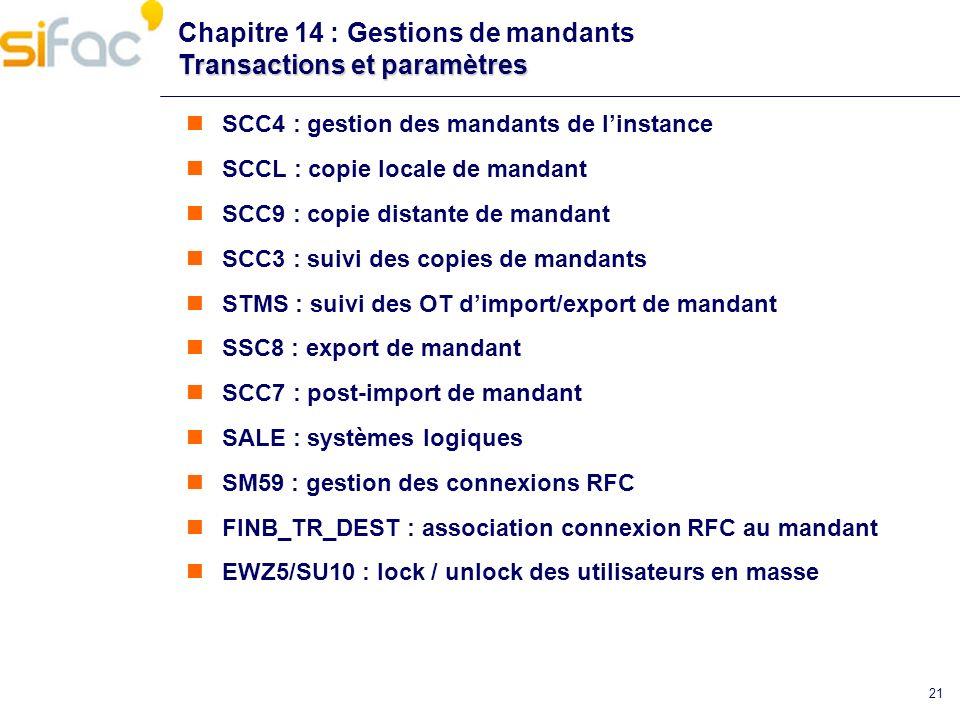 Chapitre 14 : Gestions de mandants Transactions et paramètres