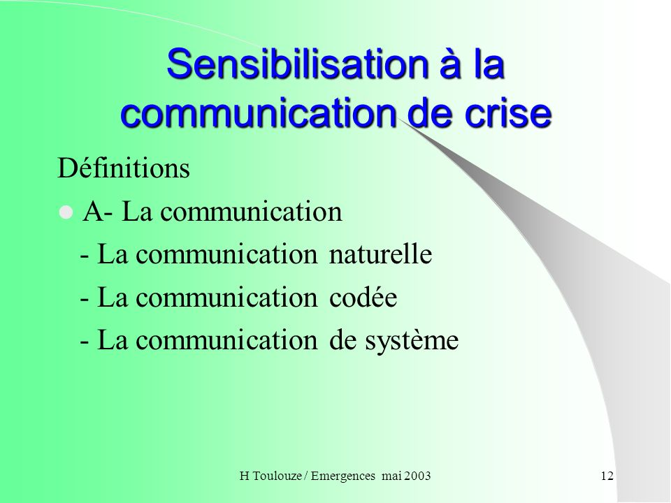 Sensibilisation à la communication de crise