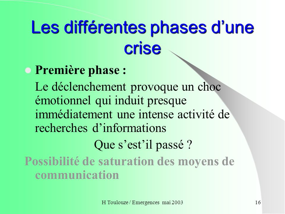 Les différentes phases d'une crise