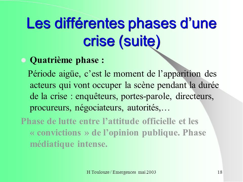 Les différentes phases d'une crise (suite)