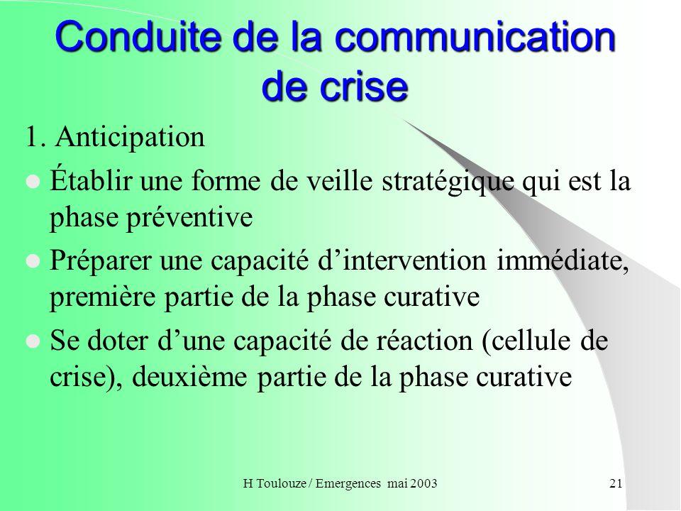 Conduite de la communication de crise