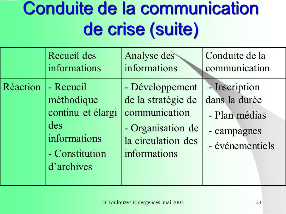 Conduite de la communication de crise (suite)