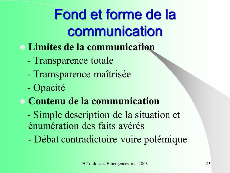 Fond et forme de la communication