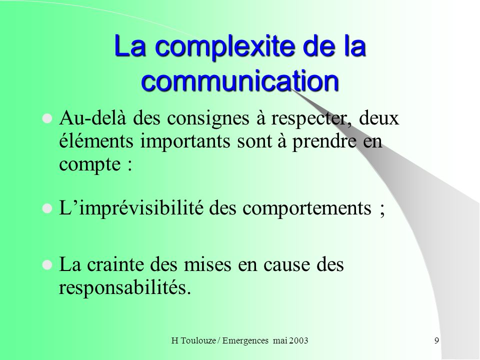 La complexite de la communication