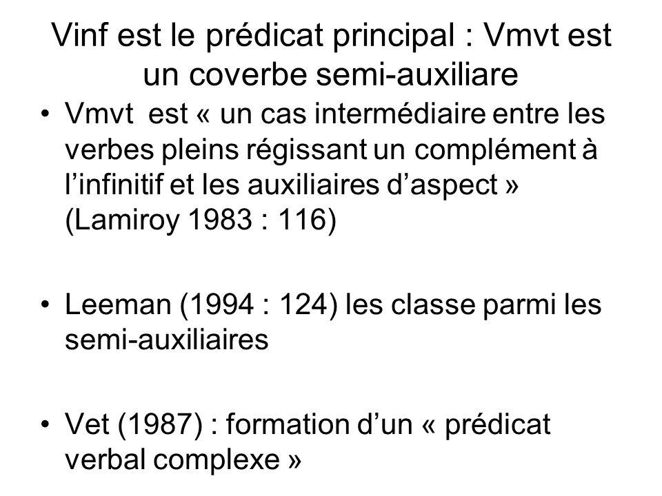 Vinf est le prédicat principal : Vmvt est un coverbe semi-auxiliare