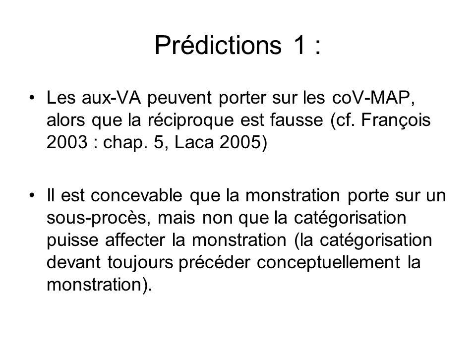 Prédictions 1 :Les aux-VA peuvent porter sur les coV-MAP, alors que la réciproque est fausse (cf. François 2003 : chap. 5, Laca 2005)