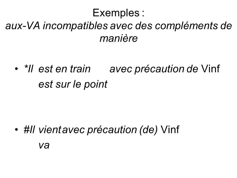 Exemples : aux-VA incompatibles avec des compléments de manière