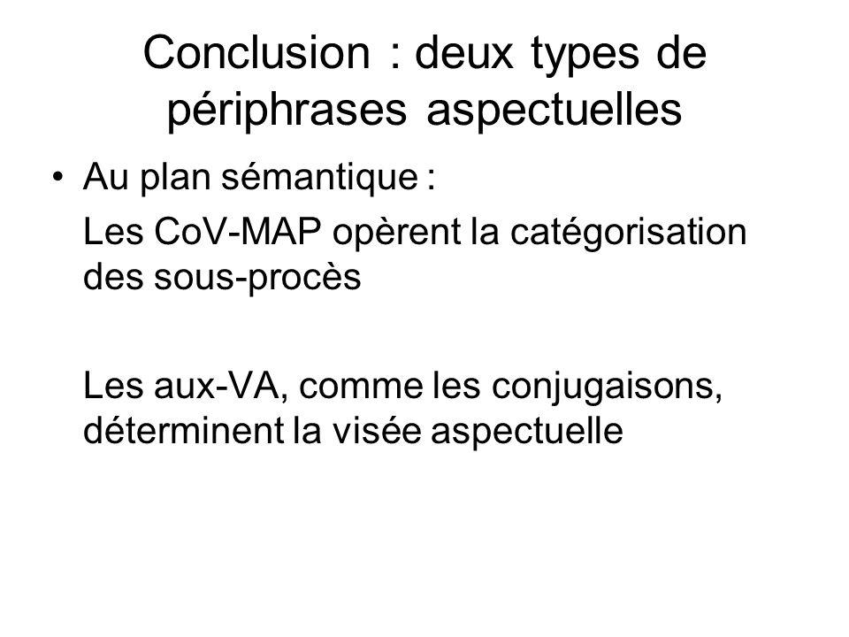 Conclusion : deux types de périphrases aspectuelles