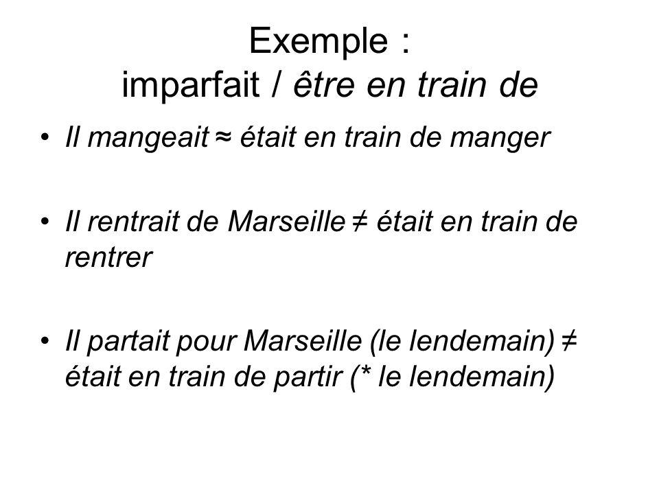 Exemple : imparfait / être en train de