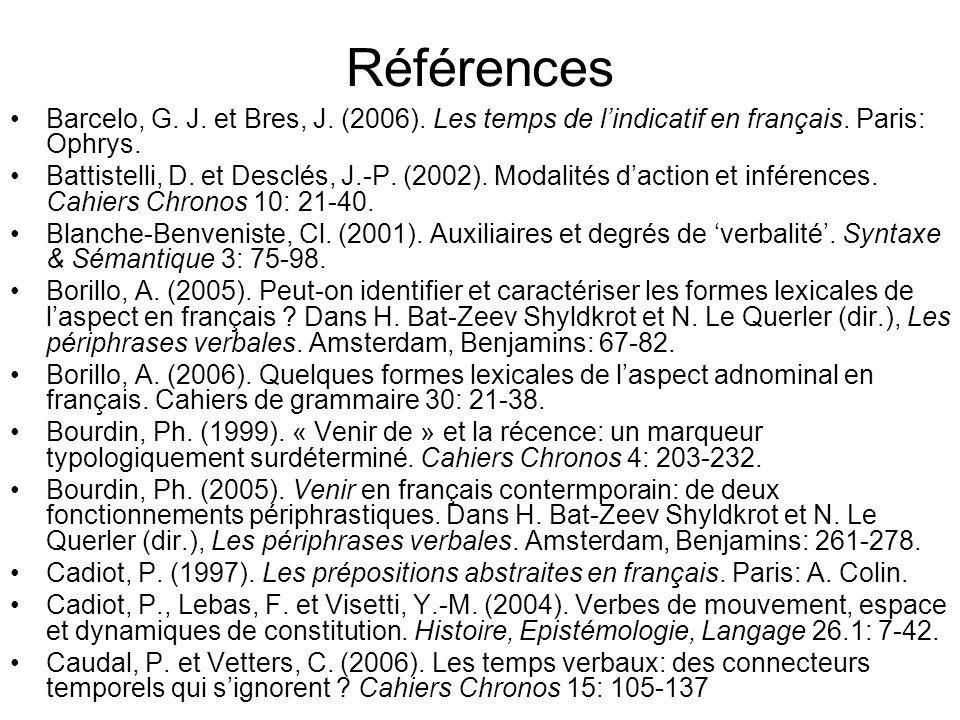 Références Barcelo, G. J. et Bres, J. (2006). Les temps de l'indicatif en français. Paris: Ophrys.