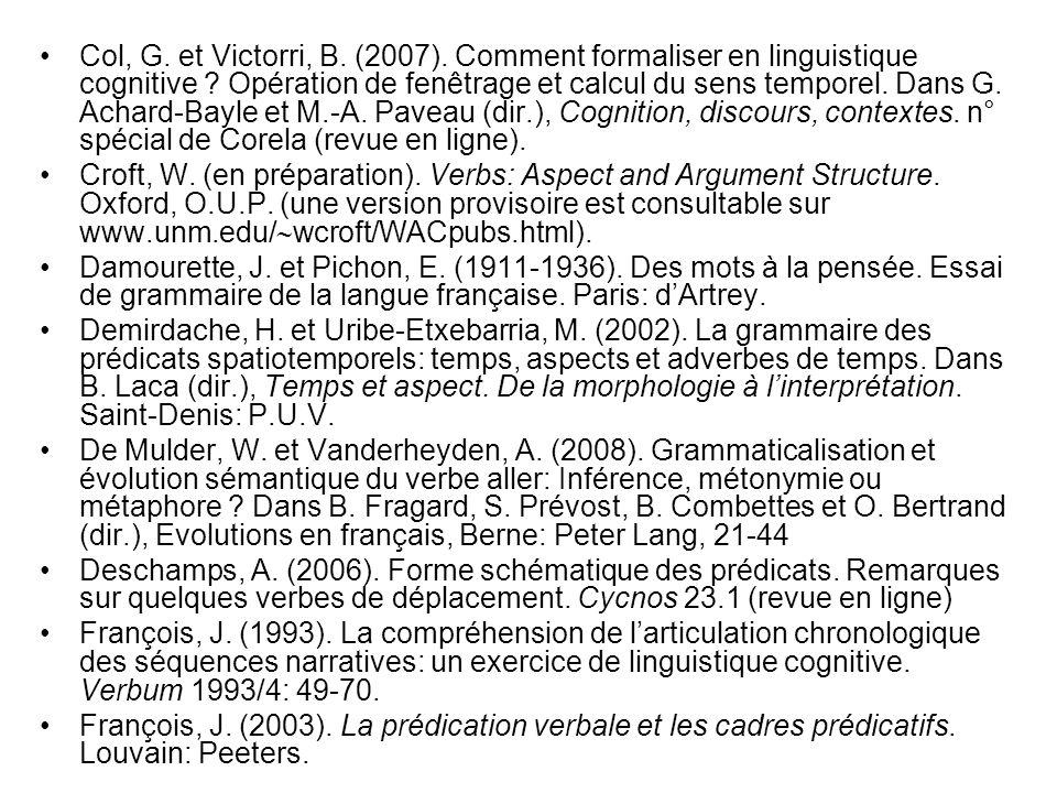 Col, G. et Victorri, B. (2007). Comment formaliser en linguistique cognitive Opération de fenêtrage et calcul du sens temporel. Dans G. Achard-Bayle et M.-A. Paveau (dir.), Cognition, discours, contextes. n° spécial de Corela (revue en ligne).