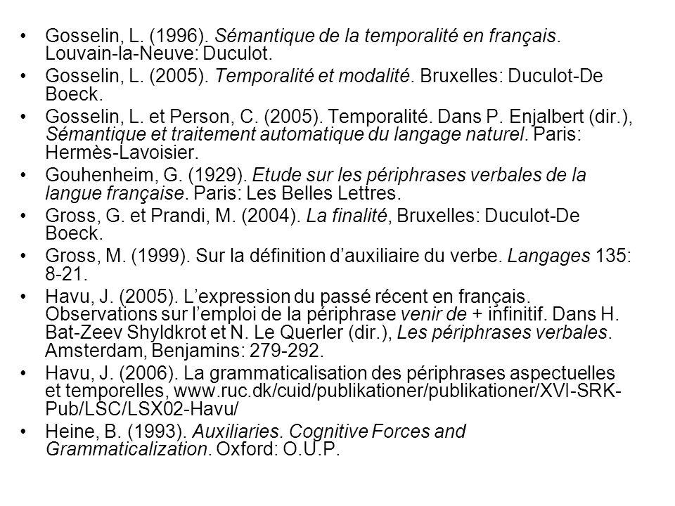 Gosselin, L. (1996). Sémantique de la temporalité en français