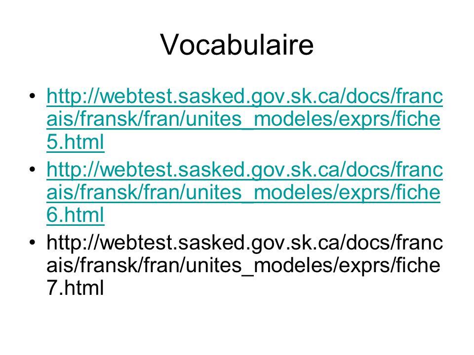 Vocabulaire http://webtest.sasked.gov.sk.ca/docs/francais/fransk/fran/unites_modeles/exprs/fiche5.html.